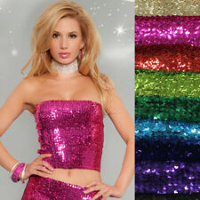 Sexy ClubWear Shiny Full Sequin Stretch Long Tube Top Elastic Lady Party Skirt