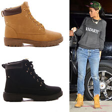 LADIES WOMENS ANKLE BOOTS LACE UP COMBAT FLAT FASHION SHOES SIZE UK 3 4 5 6 7 8