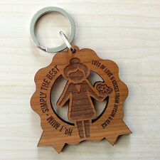Personalised Mother's Day Gift Wooden Keyring No.1 Mum Mummy  Birthday Present