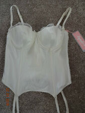 Lepel 32C 32D ivory lace basque padded soft cup multiway hook eye wedding BNWT