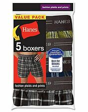Hanes Men's Red Label Exposed Waistband Fashion Plaid Boxer 5-Pack MWCBX5