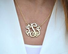 Monogram Style Necklace Script Letter Initial Pendant Gold and Silver - NEW