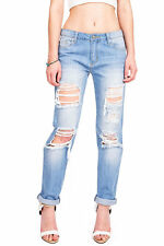 New Womens White Mid Rise Relaxed Boyfriend Baggy Jeans Distressed Ripped S M L