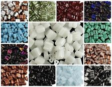 CHOOSE COLOR! 30pcs Silky Beads Block, Two-Hole, Czech Pressed Glass, Square 6x6