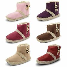 Womens Ladies Slippers Boots Coolers Winter Fur Warm Booties Girls Shoes Size