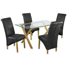 Solid Oak & Glass Dining Table and Chair Set with 4 Leather Seats | Black Brown