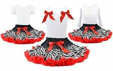 Rockstar Zebra Red Tutu Pettiskirt Outfit 2 Pc Birthday Pageant Party NWT 1-10Y