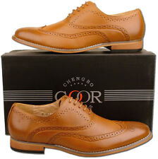 Mens New Tan Leather Lined Lace Up Formal Brogue Shoes Size 6 7 8 9 10 11 12