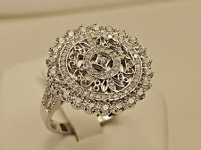 Vintage Style Round Micro Pave CZ 925 Sterling Silver Rhodium Ring