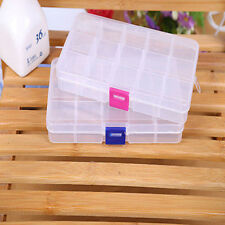 Plastic 15 Or 10 Slots Adjustable Jewelry Storage Box Case Craft Organizer