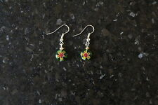 Handcrafted  flower - glass bead Millefiori earrings various colours