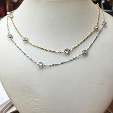 CZ and Dia by the Yard Style Sterling Silver Necklace 5 sizes white or yellow