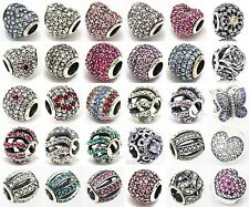 Colorful Sterling Silver Hot Pave CZ Crystal European Breacelet Charm Bead