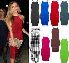 New Womens Bodycon Strappy Bralet Midi Party Dress Ladies High Square Neck 8-22