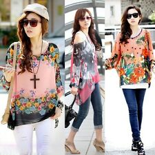 New Women Loose Chiffon Tops Flower Butterfly Batwing Sleeve Shirt Casual Blouse