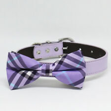 Pink dog bow tie collar pet accessory wedding dog collar Pink Gray handmade