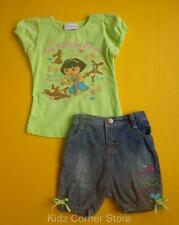 NICKELODEON Girl's 4T 5T DORA Puppy Top & Denim Short Set Outfit