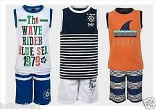 BOY'S 2PC SLEEVELESS T SHIRT & SWIM/SWIMMING BOARD SHORTS SET 2 3 4 5 6 7 8 YRS
