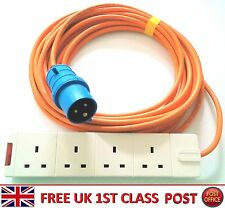 5m 10m 15m Caravan Electric Hook Up Lead 13a to 16A extension 4 way Adaptor