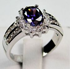 Sz6-12 Fashion Purple Amethyst Women's 14KT White Gold Filled Engagement Ring