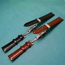 Genuine Leather Watch Strap With Butterfly Deployant Clasp for All 18 19 20 21