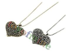 new Girl Retro Vintage Hollow Carved Peach Heart Pendant Sweater Chain Necklace