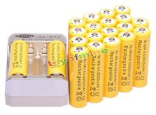 20pcs AA 3000mAh 1.2V Yellow Ni-MH Rechargeable Battery for MP3 Camera +Charger