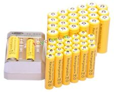 24 AA 3000mAh+ 24 AAA 1800mAh 1.2V Ni-MH Rechargeable Battery Cell Yel+ Charger