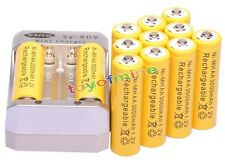 12pcs AA 3000mAh 1.2V Yellow Ni-MH Rechargeable Battery  for MP3 Camera +Charger