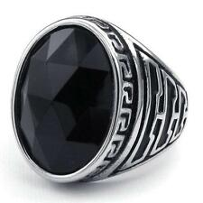 Classic Oval Black Silver Mens Crystal 316L Stainless Steel Ring US Size 8-11