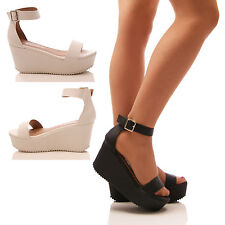 LADIES WOMENS PLATFORMS WEDGES FLATFORM SANDALS SUMMER CHUNKY SHOES SIZE