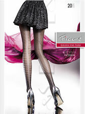 New Fiore Proxima 20 Denier Black Natural Striped Patterned Sheer Women Tights