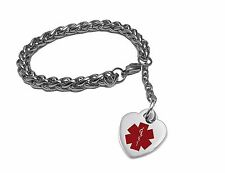 316L Stainless Steel Medical Alert Bracelet with Heart-Alert-Bracelet-with-Heart