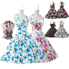 50s ROCKABILLY DRESSES* Vintage Swing Pinup Housewife Dance Party Dresses 4Size