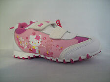 Girls Hello Kitty White & Pink Velcro Fastening Trainers-Size 6, 7, 8, 9, 10, 11