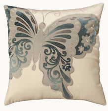 43 CM CUSHION COVER BUTTERFLY EMBROIDERED DESIGN CHOICE 4 COLOURS WAYS EASY CARE