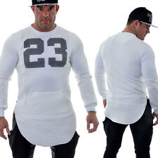 New Mens Sweatshirt Sponge-Like Netting Faux Leather Sport Style Hip-Hop White