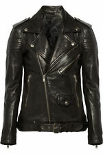 Leather Jacket Coat Women Motorcycle New Womens Biker Soft Black Jacket WJ112