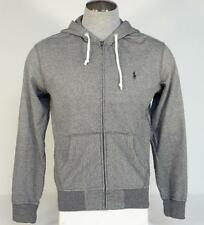 Polo Ralph Lauren Gray Zip Front Hooded Jacket Hoodie Black Polo Pony Mens NWT