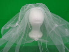 New White Comb w/ attached elegant Veil Tulle Flower Communion/ Baptism/Bridal.