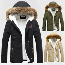 Fashion Mens Winter Warm Jacket Military Thicken Fur Hooded Outerwear Parka Coat