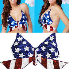Clubwear Rave Gogo Sequin Butterfly Belly Dancer Bra Halter Top Costume USA Flag