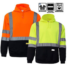 High Visibility RK Hooded Sweatshirt Class 3 Safety Hoodie Hi vis viz lime