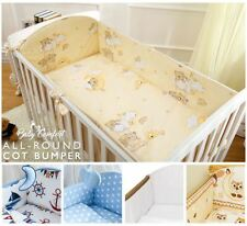 6 Piece Baby Nursery Cot Bed Long All Round Bumper Bedding Set + Jersey Sheet