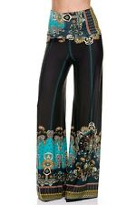 Plus Size Sexy Fold Over High Waist Tall Palazzo Aqua Black Pants XL-1X 2X 3X
