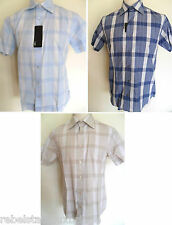 PETERWERTH Shirt Men's Short Sleeve Check Cotton Shirt Blue,Navy,Stone M,L,XL