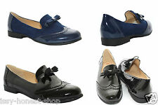 Womens Brogue Look Leather Suede Pumps Smart Casual Work Slip On Loafers Shoes