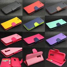 Dual Color Deluxe Wallet Leather Flip TPU Case Cover Stand For Various LG Phone