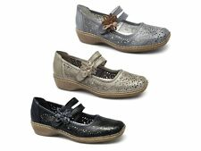 Rieker 41372 Womens Ladies Soft Leather Touch Fasten Casual Mary Jane Shoes