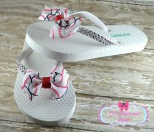 Girls Baseball Bow Flip Flops White Old Navy MLB NCAA Softball Sandals Custom